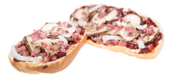 Pizza Baguette with Ham on white Stock Photography