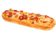 Pizza baguette with salami royalty free stock photography