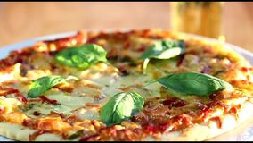 Pizza baked stock footage