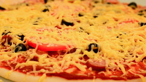 The pizza is baked in the oven. stock video footage