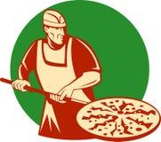 Pizza baker holding baking pan Royalty Free Stock Photo