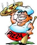 Pizza Baker met een reuzepizza Stock Foto's