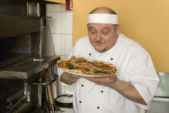 Pizza bakers royalty free stock photo