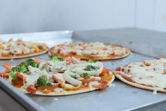 Pizza before baking, meat, ham, cheese. Stock Images