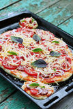 Pizza on a baking sheet Stock Images