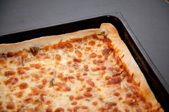 Pizza in a baking tray Royalty Free Stock Images