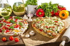 Pizza before and after baksel Stock Fotografie