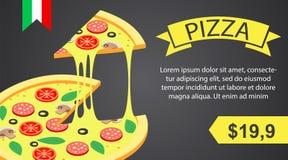 Pizza banner horizontal, isometric style. Pizza banner horizontal. Isometric illustration of vector pizza banner horizontal for web design stock illustration