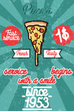 Pizza banner. Vintage fast food background. Royalty Free Stock Photography