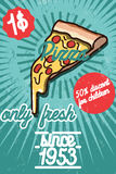 Pizza banner. Vintage fast food background. Royalty Free Stock Image