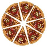 Pizza barbecue. Group of vector colorful illustrations on the pizza theme; pieces of barbecue pizza. Pictures contain realistic shadows and glare vector illustration
