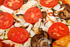 Pizza BBQ on a white plate. Royalty Free Stock Photo