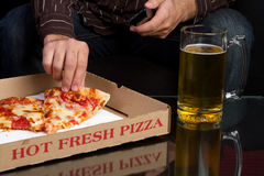 Pizza and Beer stock photography