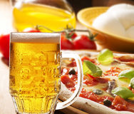 Pizza with beer Royalty Free Stock Images