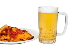 Pizza and Beer (with clipping path) Royalty Free Stock Images
