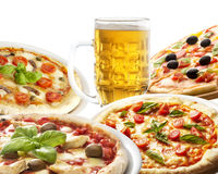 Pizza and beer Royalty Free Stock Image