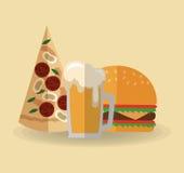 Pizza beer and hamburger design Royalty Free Stock Photo