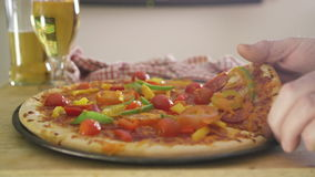 Pizza, Beer and TV stock video footage