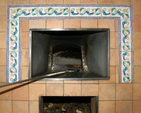 Pizza Being Baked In A Wood Fire Brick Oven In A Restaurant Stock Image