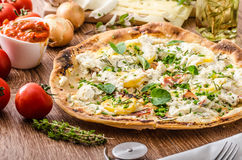 Pizza Bianco with Rosemary and Pancetta Royalty Free Stock Photos