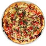 Pizza bij de plaat Royalty-vrije Stock Fotografie