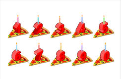 Pizza and  birthday numbers candles set.  Stock Photo