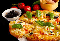 Pizza in black Stock Photo