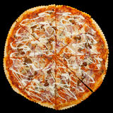 Pizza on a black background Stock Photo