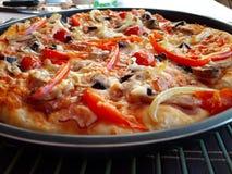 Delicious italian fresh baked pizza stock photos