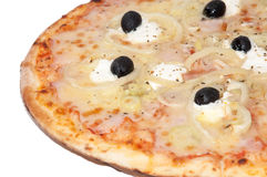Pizza with black olives Stock Image