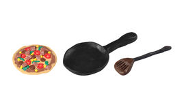 Pizza in black pan model from japanese clay Royalty Free Stock Image