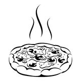 Pizza. Black silhouette. Stock Photography
