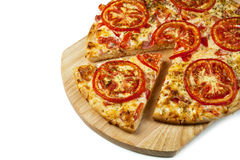 Pizza on the board. Close-up Stock Image