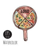 Pizza on the board vector illustration