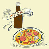 Pizza with Bottle of soda Stock Images