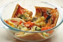 Pizza in bowl Royalty Free Stock Photo