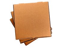 Pizza box, blank brown, isolated on white background, top view Royalty Free Stock Photos