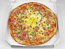 Pizza in box close up Stock Photo