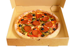 Pizza box close up, open top view, white background Stock Photography