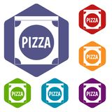 Pizza box cover icons set hexagon. Isolated vector illustration vector illustration