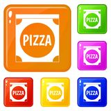 Pizza box cover icons set vector color. Pizza box cover icons set collection vector 6 color isolated on white background royalty free illustration