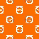 Pizza box cover pattern seamless. Pizza box cover pattern repeat seamless in orange color for any design. Vector geometric illustration royalty free illustration