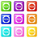 Pizza box cover set 9. Pizza box cover icons of 9 color set isolated vector illustration royalty free illustration