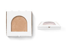 Pizza box design mock up with foil window isolated. Royalty Free Stock Photo