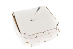 Pizza box with fork Royalty Free Stock Images