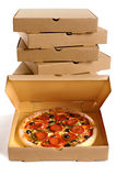 Pizza box, fresh baked Pizza, stack of delivery boxes, isolated on white background, vertical Stock Photo