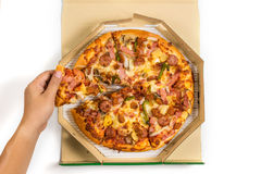 Pizza in the box with fully load topping, Delivery Pizza royalty free stock images