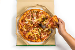 Pizza in the box with fully load topping, Delivery Pizza. Pizza in the box with fully load topping on white background, Delivery Pizza Royalty Free Stock Image