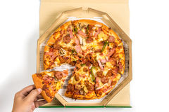 Pizza in the box with fully load topping, Delivery Pizza royalty free stock image