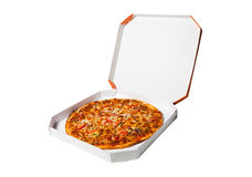 Pizza in  box isolated on a white background Stock Photos